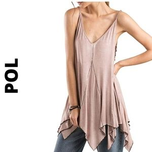 Pol pink strappy side detailed top W/pointed hem